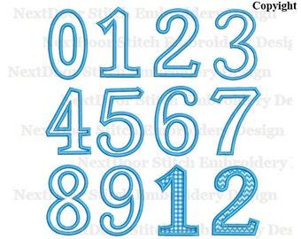 Embroidery Applique Number set 0-9,  Alphabet Monogram Font Embroidery Design, BX files,  nbr-009-0-9