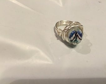 Gorgeous Glass Bead Wire Wrapped Ring