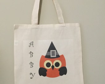 Personalized Trick or Treat Bag, Reusable Tote, Halloween Shopping