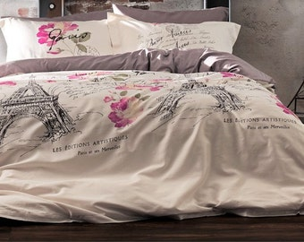 Satin Paris Eiffel Tower Full Double Queen Kind Bedding  Duvet Cover Quilt Cover