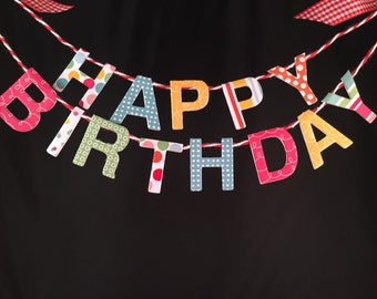 Happy Birthday Cake Banner, Cake Topper, Custom Cake Garland, Personalized, Boy or Girl Cake Bunting
