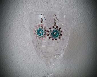Beaded String Art Earrings