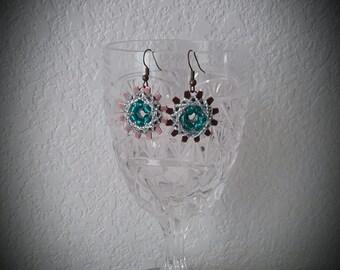 Beaded String Art Earrings