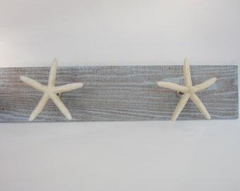 Unique starfish towel rack, beach decor, towel hooks, beach towel rack.