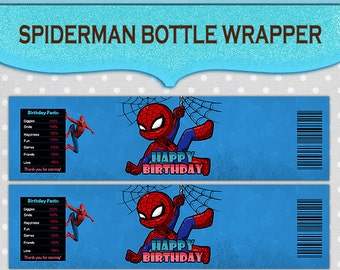Spiderman Water Bottle Wrapper Label