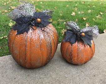 Customized Halloween faux pumpkins in tulle, halloween decor, fall decor, inside outside decoration, halloween decoration