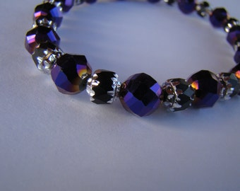 Purple Crystal Bracelet with Black and Silver toned Spacers