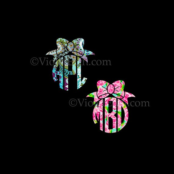 Circle Monogram with Bow-Yeti Decal-Cup Decal-Circle Monogram Decal-Window Decal-Lilly Inspired Decal-Laptop Decal
