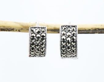Marcasite Huggies Earrings with Sterling Silver, Marcasite Earrings, Huggie Earrings, Hoop Earrings, Gift For Her