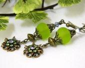 Green Earrings, Lamp work Glass, Antique Brass, Rhinestone Dangles, Swarovski Crystals, Short Earrings, Handcrafted Earrings, Vintage Style