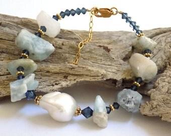 Blue Lace Bracelet, Blue Bracelet for Women, Gemstone Bracelet, Swarovski Crystal Jewelry, Agate Bracelet, Handcrafted Jewelry