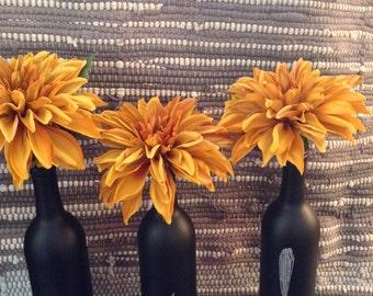 Chalkboard wine bottle vases