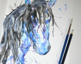 Horse original watercolour, horse panting, horse art, colourful horse art, original watercolour, original painting, original art