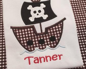 Pirate ship applique shirt, pirate shirt, pirate ship applique, jolly roger applique shirt,SSD-24