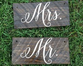 Handmade Wooden Mr. & Mrs. Wedding Chair Signs
