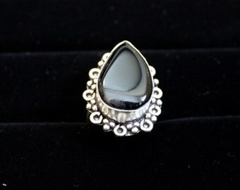Antique Silver Gem Black Stone Ring