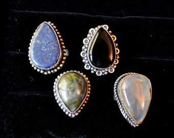 Silver Stone Statement Rings