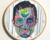 "Elijah - 6""x6"" handmade embroidery portrait"