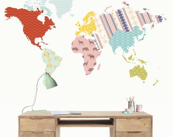 Vinyl world map patchwork