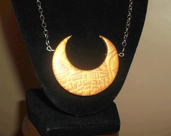 Gold Mica Shift Crescent Necklace