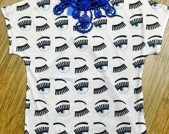 t-shirt teen ladies eyelash fashion