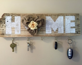 Rustic Home - Key Hook Sign