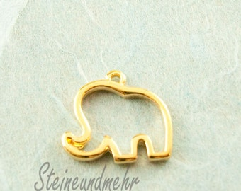 1x Pendant Elephant Gilded 19mm art. 2139