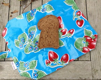 Reusable sandwich bag and placemat in 1-strawberries