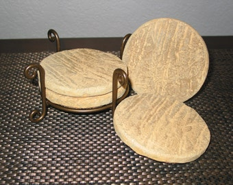 Cement Beverage Coasters.  Set of 4 with Holder (Tan)