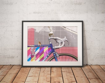 Cycling / Bike Collage Illustration A3 Print