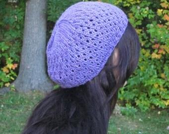 KNITTING PATTERN beret pattern, lace pattern, lace beret pattern, eyelet knitting pattern