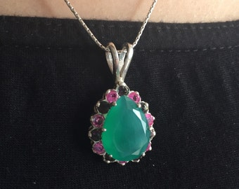 Green Agate Pendant, Mystic Topaz Pendant, Vintage Pendant, Green Stone Pendant, Kate Middleton Pendant, Silver Pendant