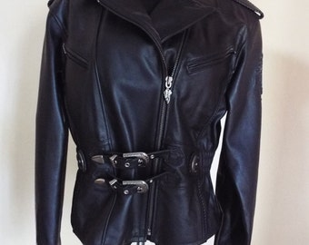 90s Ladies Leather Harley Davidson Jacket. Size L - Free Shipping in the lower 48 states!