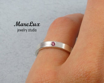 Ruby July Birthstone Silver Ring, Synthetic Ruby Ring, Sterling Silver or Gold Ruby Band Ring, Round Cut  Ring