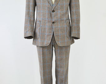60's Vintage Men's 42 Juilliard Wool Gray Orange Windowpane Plaid Pant Suit 34x32L
