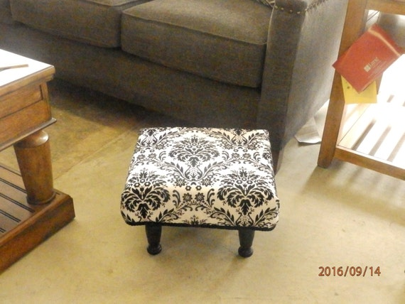 BLACK AND WHITE  Damask Handmade Footstool