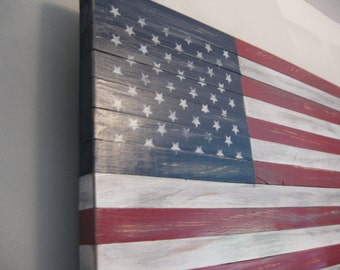 Distressed American Wood Flag
