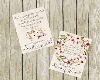 Bridesmaid Proposal Wine Labels, Instant Download, Printable Labels