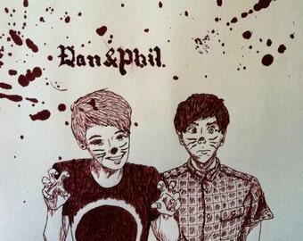 Dan and Phil original ink drawing