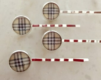 Silver hair pins / set of 4 / Burberry