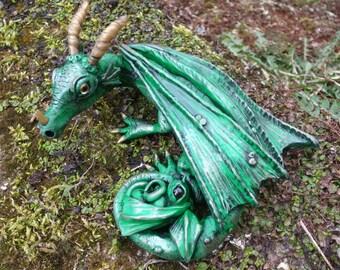 Fantasy Dragon and Baby. OOAK sculpt