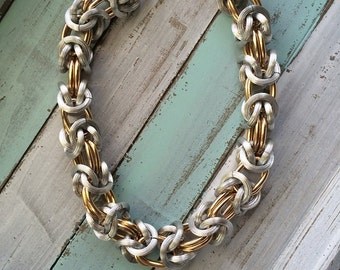 Chunky Chain, Gold/Silver tone Necklace~Chunky Brushed Texture~Large Double Link~Lightwight Vintage Jewelry, Chain Link, 1970 Necklace