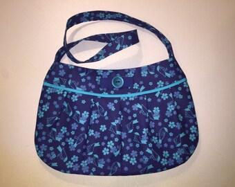 Navy blue snd teal pleated purse