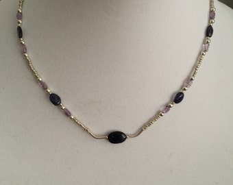 Amethyst and Iolite necklace
