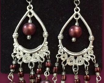 Silver and Brown Beaded Chandelier Earrings