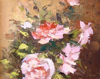 Pink Roses,Giclee Print on Canvas,Still Life Painting,Wall Art Prints,Floral Painting,Home Wall Decor,