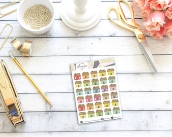 Mini House Stickers || 30 Planner Stickers