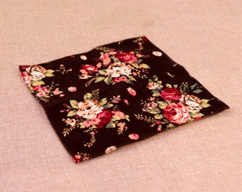 Black Floral Pocket Square | Flower | Groom | Men | Wedding | Handkerchief | Fall | Ideas | gifts |  for him