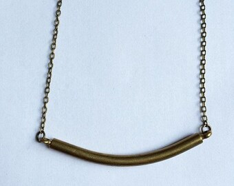 simple brass bar necklace
