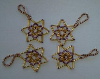 Set of 4 Beaded Stars - Amethyst & Gold